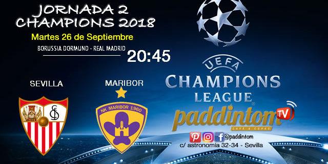 Jornada 2 de laChampions League 2018. Martes 26 de Septiembre a las 20:45 Borussia Dormund - Real Madrid // Sevilla - Maribor (partido emitido)