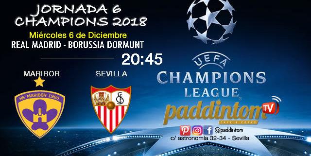Jornada 6 de laChampions League 2018. Miércoles 6 de Diciembre a las 20:45. Real Madrid - Borussia Dormunt // Maribor - Sevilla