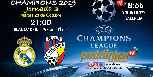 Champions League 2019 Fase de Grupos Jornada 3Martes 23 de Octubre Young Boys - Valencia a las 18.55h; Real Madrid - Viktoria Plzen a las 21.00h