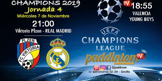 Champions League 2019 Fase de Grupos Jornada 4 - Miércoles 7 de Noviembre Valencia-Young Boys a las 18.55h * Viktoria Plzen-Real Madrid a las 21.00h