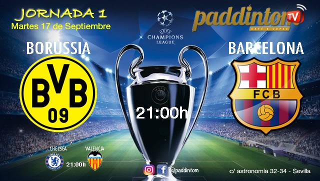 Champions League 2020 Jornada 1 Martes 17 de Septiembre, Borussia Dormunt - Barcelona a las 21.00h y Chelsea - Valencia a las 21.00h. Paddintom Café & Copas