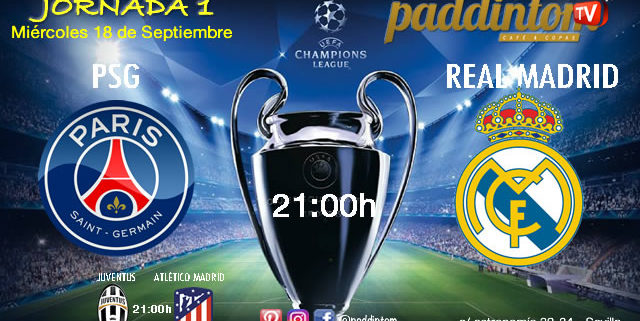 Champions League 2020 Jornada 1 Miércoles 18 de Septiembre PSG - Real Madrid a las 21.00h y Juventus - Atlético de Madrid a las 21.00h
