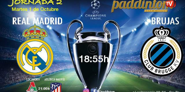 Champions League 2020 Jornada 2, Martes 1 de Octubre, Real Madrid - Brujas a las 18.55h y Lokomotiv de Moscú - Atlético de Madrid a las 21.00h - Paddintom Café