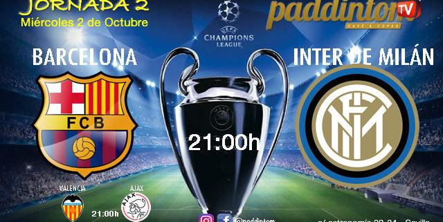 Champions League 2020 Jornada 2, Miércoles 2 de Octubre, Barcelona - Inter de Milán a las 21.00h y Valencia - Ajax a las 21.00h- TV en Paddintom Café & Copas
