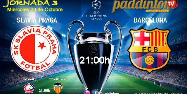 Champions League Jornada 3, Miércoles 23 de Octubre. Slavia de Praga - Barcelona a las 21.00h y Lille - Valencia a las 21.00hen TV en Paddintom Café & Copas
