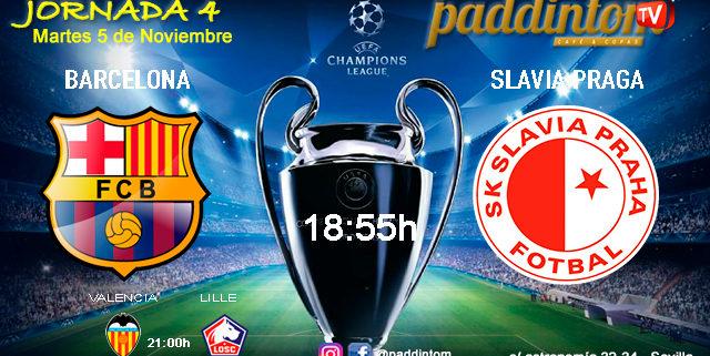 Champions League 2020 Jornada 4. Martes 5 de Noviembre, Barcelona - Slavia de Praga a las 18.55h y Valencia - Lille a las 21.00hen Paddintom Café & Copas