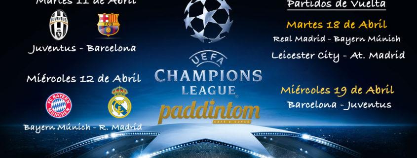 Partidos de vuelta Cuartos de Final de la Champions League. Martes 18 de Abril: RealMadrid-Bayern 20.45h. Miércoles 19 de Abril: Barcelona- Juventus 20.45h