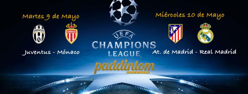 Semifinal de la Champions League donde podremos disfrutar del Real Madrid y At. de Madrid Partidos de vuelta Martes 9 de Mayo: Mónaco – Juventus a las 20.45h Miércoles 10 de Mayo: Real Madrid - Atlético de Madrid a las 20.45h
