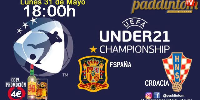 Europeo SUB 21. Lunes 31 de Mayo, España - Croacia a las 18.00h. Disfruta de nuestra promoción de J&B a 4€ en nuestras pantallas de TV en Paddintom Café & Copas