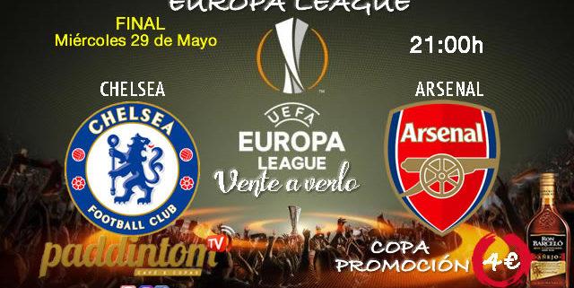 Europa League 2019 Gran Final! Miércoles 29 de MayoChelsea - Arsenal a las 21.00h. Promoción copa Ron Barceló a 4€. TV en Paddintom Café & Copas