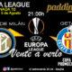 Europa League 2020 Jornada 10. Miércoles 5 de Agosto. Inter de Milán - Getafe a las 21.00h. Promoción copa Ron Barceló a 4€. Ven a verlo a Paddintom Café & Copas