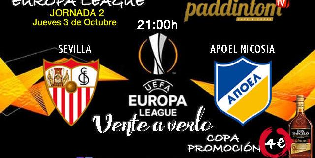 Europa League 2020 Jornada 2, Jueves 3 de Octubre, Sevilla - Apoel Nicosia a las 21.00h. Promoción copa de Ron Barceló a 4€ en Paddintom Café & Copas