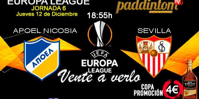 Europa League 2020 Jornada 6, Jueves 12 de Diciembre. Apoel Nicosia - Sevilla a las 18.55h. Promoción copa Ron Barceló a 4€ en Paddintom Café & Copas