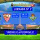 Jornada nº 2 de la Liga Santander. Viernes 25 de Agosto: Betis - Celta a las 22.00h. Domingo 27 de Agosto: Getafe - Sevilla a las 20.15h