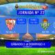 Jornada 22 Liga Santander 1ª División donde podremos disfrutar de los partidos del Sevilla FC y del Betis. Sábado 3 de Febrero: Eibar - Sevilla a las 13,00h Sábado 3 de Febrero: Betis -Villarreal a las 16,15h