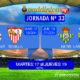 Jornada 33 Liga Santander 1ª División. Martes 17 de Abril: Deportivo - Sevilla a las 19,30h. Jueves 19 de Abril: Betis - Las Palmas a las 21.30h