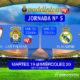 Jornada 5 Liga Santander 1ª División entre semana. Miércoles 20 Septiembre: Sevilla - Las Palmas 22.00h (retransmitido). Real Madrid - Betis a las 22.00h