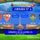Jornada 6 Liga Santander 1ª División. Sábado 23 de Septiembre: Atlético de Madrid - Sevilla 13,00h. Lunes 25 de Septiembre: Betis - Levante a las 21,00h