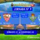 Jornada 9 Liga Santander 1ª División. Sábado 21 de Octubre: Betis - Alavés a las 16,15h y Valencia - Sevilla a las 18,30h