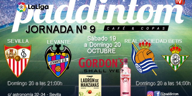 Jornada 9 Liga Santander 1ª División 19-20. Domingo 20 de Octubre, Real Sociedad - Betis a las 14.00h y Sevilla - Levante a las 21.00h. TV en Paddintom Café & Copas