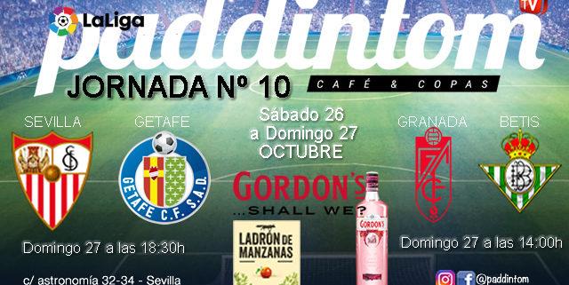 Jornada 10 Liga Santander 1ª División 19-20. Domingo 27 de Octubre, Granada - Betis a las 14.00h y Sevilla - Getafe a las 18.30h. TV en Paddintom Café & Copas