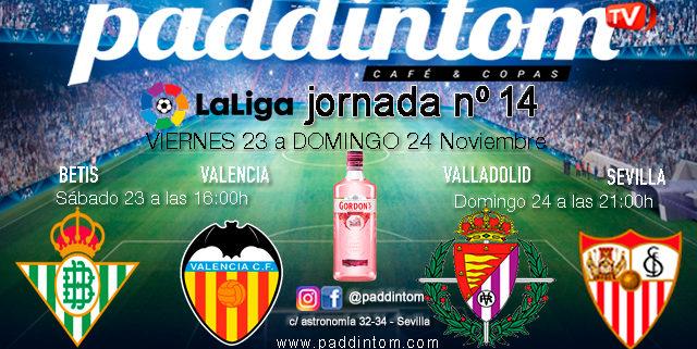 Jornada 14 Liga Santander 1ª División 19-20. Sábado 22 de Noviembre, Betis - Valencia a las 16.00h y Sábado 24 de Noviembre, Valladolid - Sevilla a las 21.00h