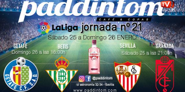 Jornada 21 Liga Santander 1ª División 2020. Sábado 25 de Enero, Sevilla - Granada a las 21.00h y Domingo 26 de Enero, Getafe - Betisa las 16.00h