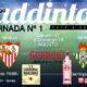 Jornada 1 Liga Santander 1ª División 19-20. Domingo 18 de Agosto Espanyol - Sevilla a las 19.00h y Betis - Valladolid a las 21.00h
