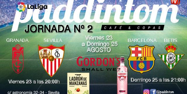 Jornada 2 Liga Santander 1ª División 19-20. Viernes 23 Agosto Granada - Sevilla a las 20.00h y Barcelona - Betis a las 21.00h. TV en Paddintom Café & Copas