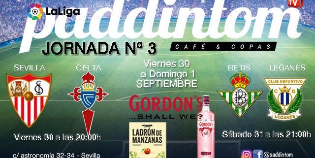 Jornada 3 Liga Santander 1ª División 19-20. Viernes 30 de Agosto Sevilla - Celta de Vigo a las 20.00h y Sábado 31 de Agosto Betis - Leganés a las 21.00h