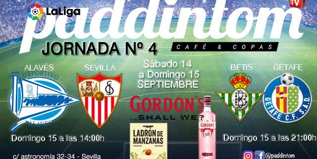 Jornada 4 Liga Santander 1ª División 19-20. Domingo 15 de Agosto - Alavés - Sevilla a las 14.00h y Betis - Getafe a las 21.00h. TV en Paddintom Café & Copas