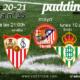 Jornada 35 Liga Santander. Sábado 8 de Mayo, Barcelona - Atlético de Madrid a las 21.00h. Domingo 9 de Mayo, Real Madrid - Sevilla a las 21.00h y Lunes 10 de Mayo Betis - Granada a las 21.00h. Ven a verlos a Paddintom Café & Copas