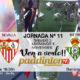 Jornada 11 Liga Santander 1ª División Domingo 4 de Noviembre: Real Sociedad - Sevilla a las 18.30hy Betis - Celta de Vigo a las 20.45h