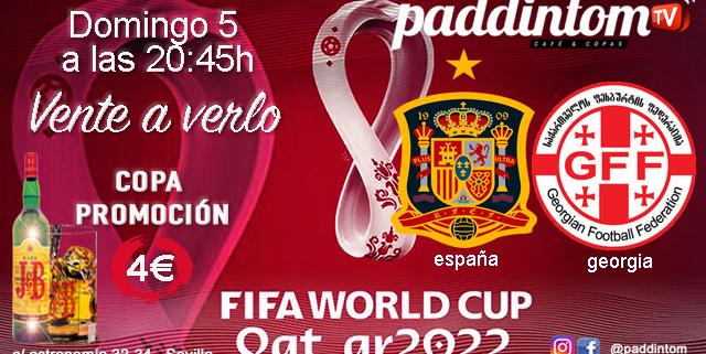 Fase de Clasificación jornada 5 de La Roja. Domingo 5 de Septiembre, España - Georgia a las 20.45h. Ven a verlo a Paddintom Café & Copas