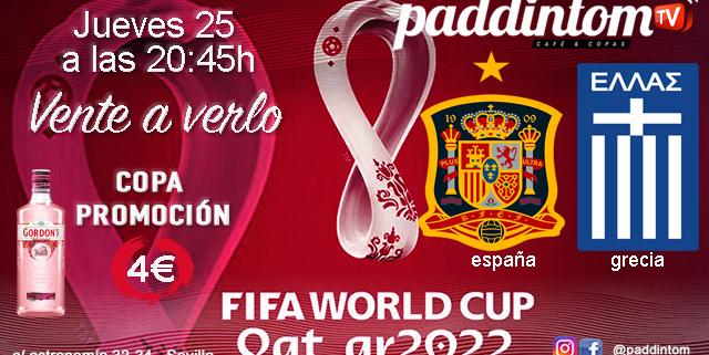 Comienza la clasificación para el Mundial de Fútbol a celebrar en Qatar en 2022. Fase de Clasificación. Jueves 25 de Marzo, España - Grecia a las 20.45h Ven a verlo a Paddintom Café & Copas