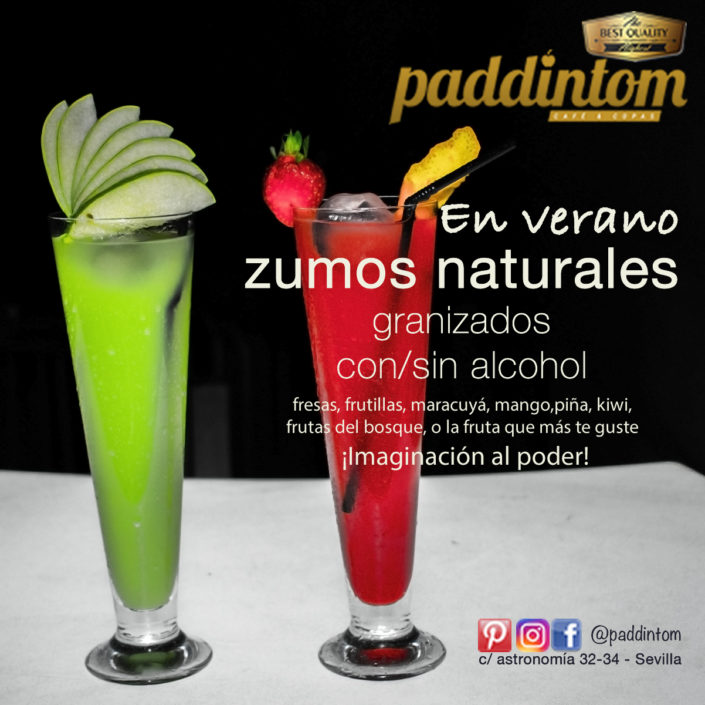Paddintom Carta de Cocktails. Ron Ginebra Zumos Batidos